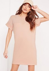 Missguided Mesh Panel T Shirt Dress Nude