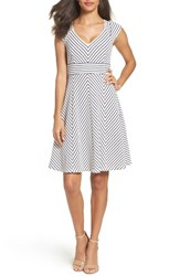 Adrianna Papell Women's Stripe Fit And Flare Dress