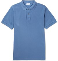 Sunspel Slim Fit Pima Cotton Pique Polo Shirt Blue