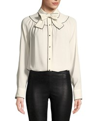 Valentino Long Sleeve Button Front Silk Georgette Blouse W Neck Bow White Black
