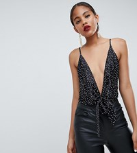Missguided Tall Polka Dot Plunge Body Black
