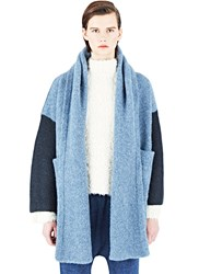 Lauren Manoogian Knitted Block Capote Coat Blue