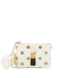 Bow And Drape Lipstick Embellished Dotted Mini Pouch Gold