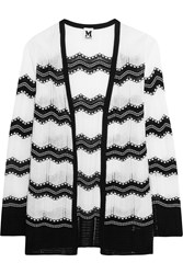 M Missoni Cotton Blend Crochet Knit Cardigan White
