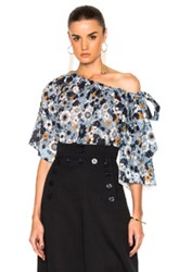 Chloe Small Flower Print Gaufre Blouse In Blue Floral Blue Floral