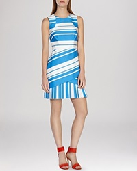 Karen Millen Graphic Stripe Collection Dress Blue Multi