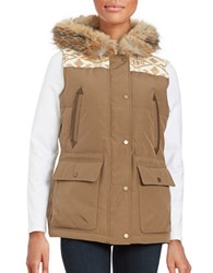 Pendleton Coyote Fur Trimmed Puffer Vest Toffee