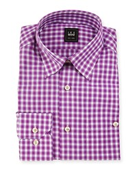 Ike Behar Check Dress Shirt Purple