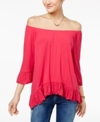 One Hart Juniors' Ruffled Off The Shoulder Top Only At Macy's Rose Red