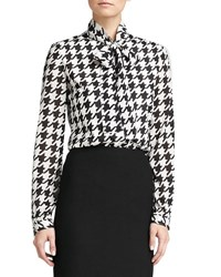 St. John Marco Houndstooth Blouse Caviar Cream