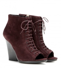 Burberry Virginia Suede Peep Toe Ankle Boots Purple