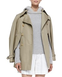 Michael Kors Convertible Cape Trench Jacket Brown