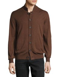 Brunello Cucinelli High Neck Button Front Cardigan Brown Gray