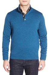 Men's Thomas Dean Merino Wool Sweater Blue
