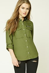 Forever 21 Star Patch Army Shirt Olive