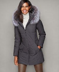 The Fur Vault Fox Fur Hood Quilted Puffer Coat Black