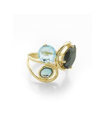 Ippolita 18K Rock Candy Squiggle Ring In Midnight Rain Size 7 Blue Topaz