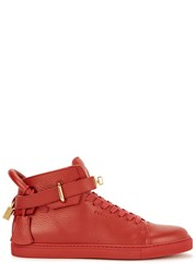 Buscemi Alta 100Mm Red Leather Hi Top Trainers
