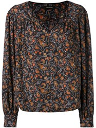 Isabel Marant Floral Print Blouse Women Silk Cotton 38 Black