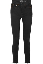 Re Done High Rise Ankle Crop Skinny Jeans Black