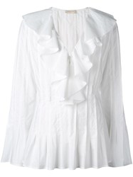 Wunderkind Pleated Flared Blouse White