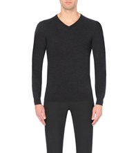 Reiss Emporer V Neck Wool Jumper Charcoal