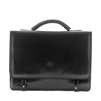 Maxwell Scott Bags Luxury Italian Leather Men's Business Satchel Briefcase Battista Night Black