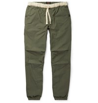 Beams Plus Slim Fit Tapered Grosgrain Trimmed Cotton Blend Ripstop Drawstring Trousers Green