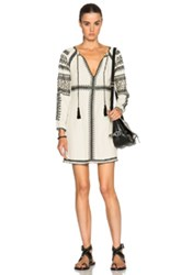 Pam And Gela Embroidered Empire Dress In Neutrals