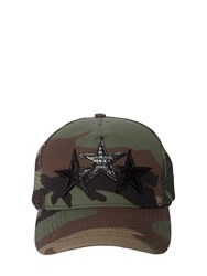 Amiri Camouflage Baseball Cap W Leather Stars