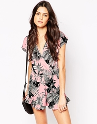 Influence Wrap Front Hawaii Print Frill Playsuit Pink