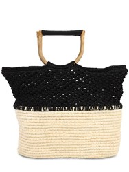 Sensi Studio Bicolor Macrame And Straw Tote Natural