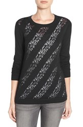 Women's Halogen Lace Stitch Crewneck Sweater Black