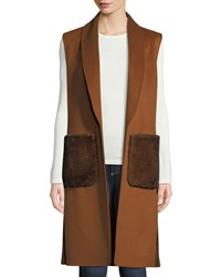 Neiman Marcus Luxury Fur Pocket Cashmere Shawl Collar Vest Dark Cognac