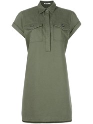 Alexander Wang T By Military Shirt Dress Green