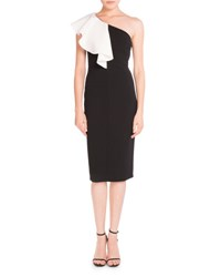 Saint Laurent Ruffled One Shoulder Sheath Dress Black White Black White