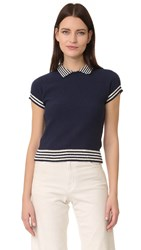 Red Valentino Short Sleeve Sweater Blue