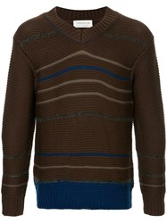 Tomorrowland Stripe Embroidered Sweater Brown