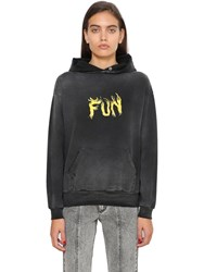 Givenchy Fun Printed Hooded Cotton Sweatshirt Black