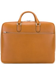 Valextra Double Handle Brief Case Brown