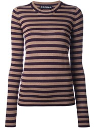 Rochas Round Neck Striped Pullover Nude And Neutrals