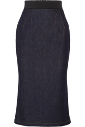 Dolce And Gabbana Fluted Stretch Denim Pencil Skirt Dark Denim