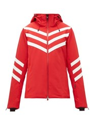 Perfect Moment Chevron Striped Technical Ski Jacket Red