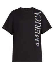 Perry Ellis America America Print Cotton T Shirt Black