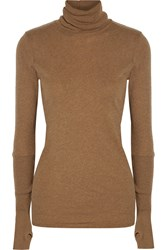 Enza Costa Cotton And Cashmere Blend Turtleneck Sweater Brown