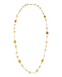 Belpearl Long Golden South Sea Pearl Necklace W Citrine And Yellow Aquamarine Women's
