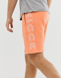 Nicce London Shorts With Large Logo In Orange