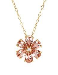 Lord And Taylor Morganite White Topaz 14K Yellow Gold Floral Pendant Necklace