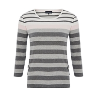 Viyella Petite Vertical Pocket Top Grey Marl