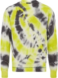 Prada Cashmere Wool Sweater With Tie Dye Motif Black